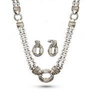 Designer Inspired Bali Style CZ Toggle Necklace and Earring Set