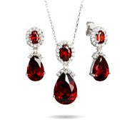 Ruby Red Peardrop CZ Necklace and Earring Set