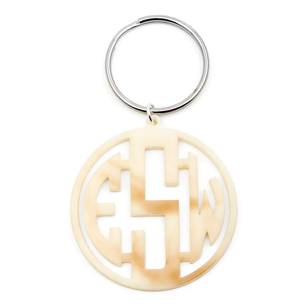 Block Monogram Acrylic Keychain Give your keys a stylish makeover with this Block Monogram Acrylic Keychain. Your personalized 2 inch keychain is cut from your choice of acrylic and comes on a split ring that attaches easily to any set of keys. A personalized acrylic monogram keychain is a great gift to add to a stocking.     Details: • Monogram Keychain • Custom Acrylic Colors  • Block Font  • 2 Inches Long