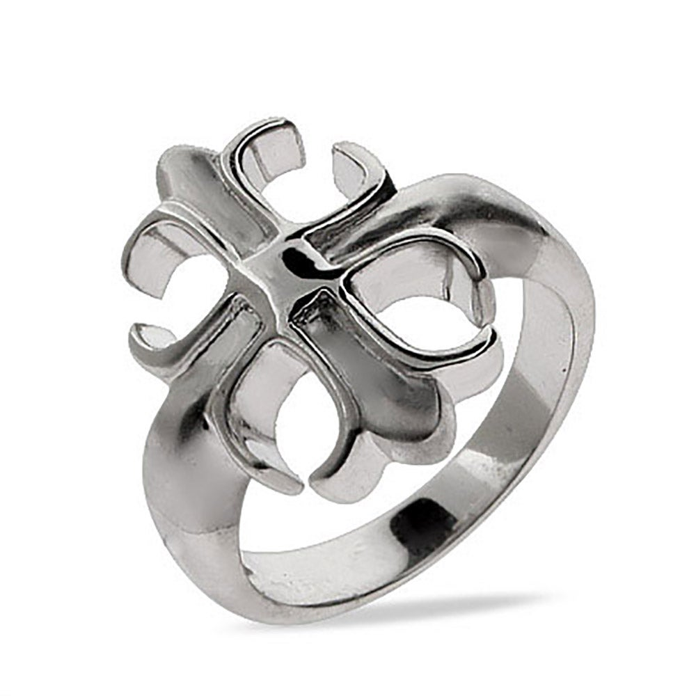 Sterling Silver Fleur de Lis Cross Ring - Clearance Final Sale The Fleur de Lis, the symbol of the lily of France, has become increasingly popular.   This Sterling Silver Fleur de Lis Cross Ring is beautifully crafted from .925 sterling silver.  The cross is designed in a style reflective of the Fleur de Lis.  We carry a vast selection of sterling silver Fleur de Lis Jewelry.  A Fleur de Lis Pendant will complement this ring nicely!  Details: • Fleur De Lis Cross-Inspired Ring • Made with .925 Sterling Silver • 1/8 Inch Wide Band • Available in Whole Sizes 5 to 9 • Ships in 24 Hours