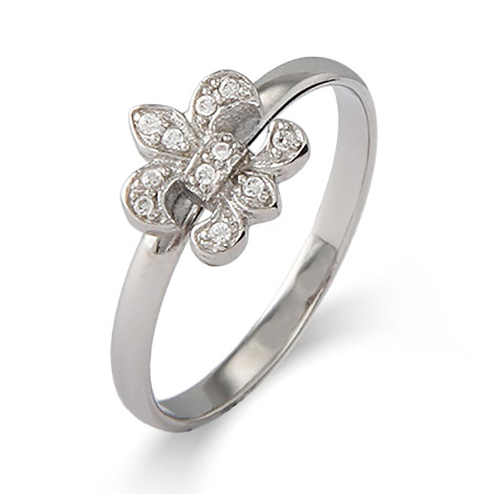 CZ Fleur de Lis Silver Stackable Ring - Clearance Final Sale Build your own unique ring style with any combination of new stackablerings! Each ring is designed to fit snugly between other Stackables, with some pieces that have a raised center and others that lie flat. Combine your favorite Stackable for a perfect look! The CZ Fleur de Lis Silver Stackable Ring features a thin sterling silver band with an intricate CZ Fleur de Lis on top. The CZ Fleur de Lis perfectly captures the beauty of France all in one ring!  Details: • Fleur de Lis Symbol • 8mm Wide Band • White Cubic Zirconia