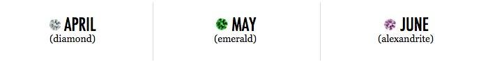 April, May, June Birthstones