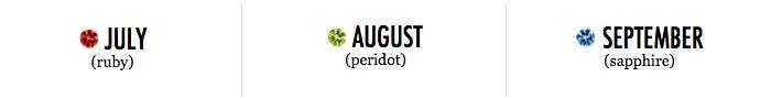 July, August, September Birthstones