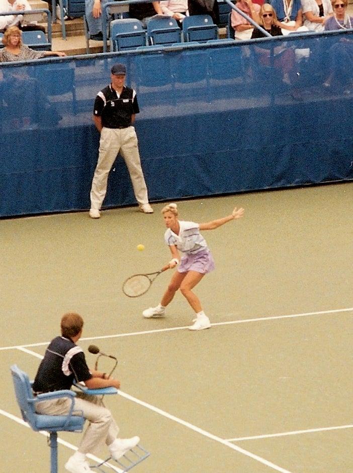 Famous tennis player Christ Evert loses her diamond tennis bracelet on the court