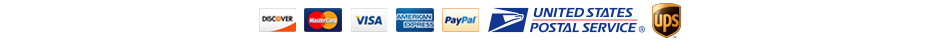 Visa, MasterCard, American Express, Discover, Google Checkout, and PayPal