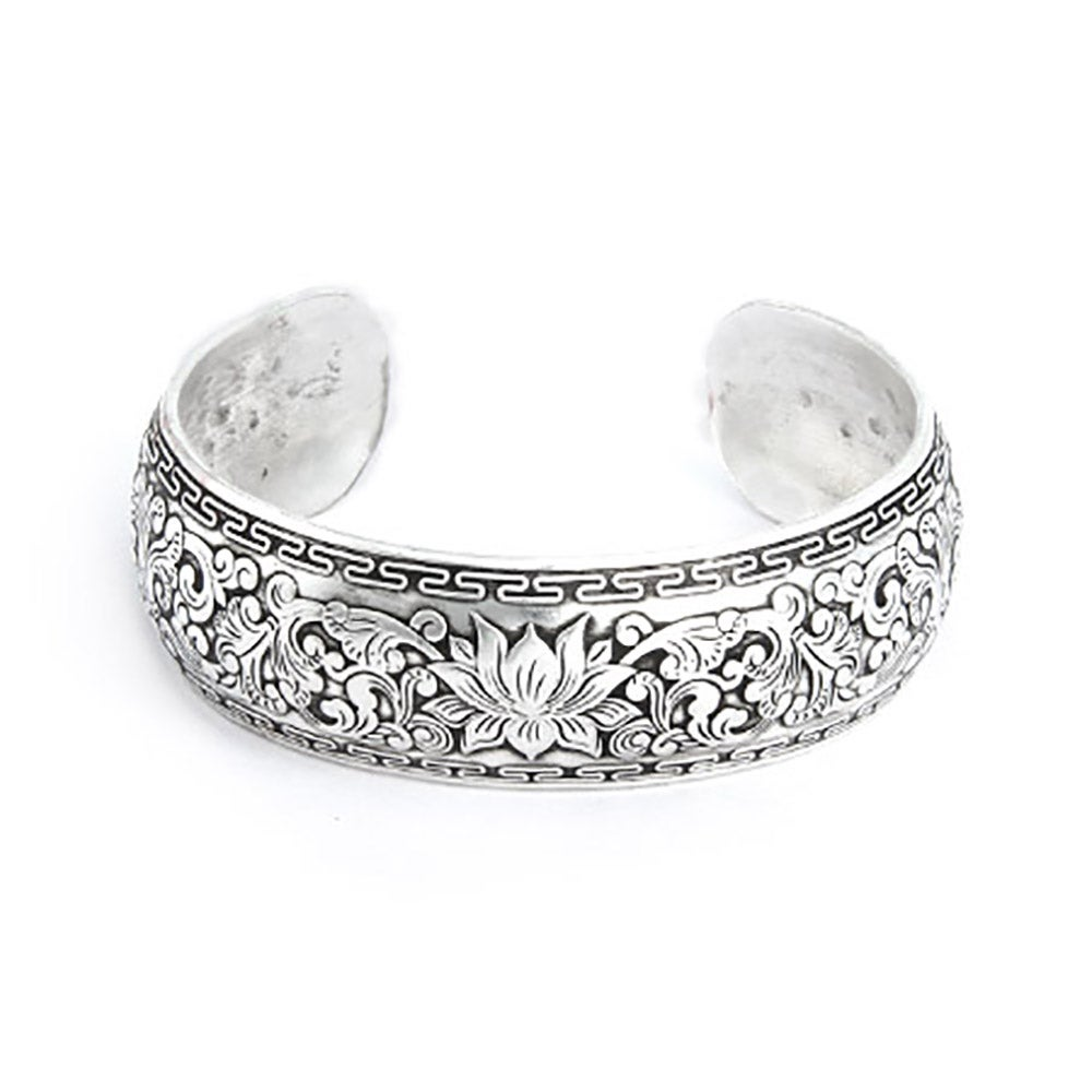 Wide Carved Design Lotus Bali Cuff Bracelet