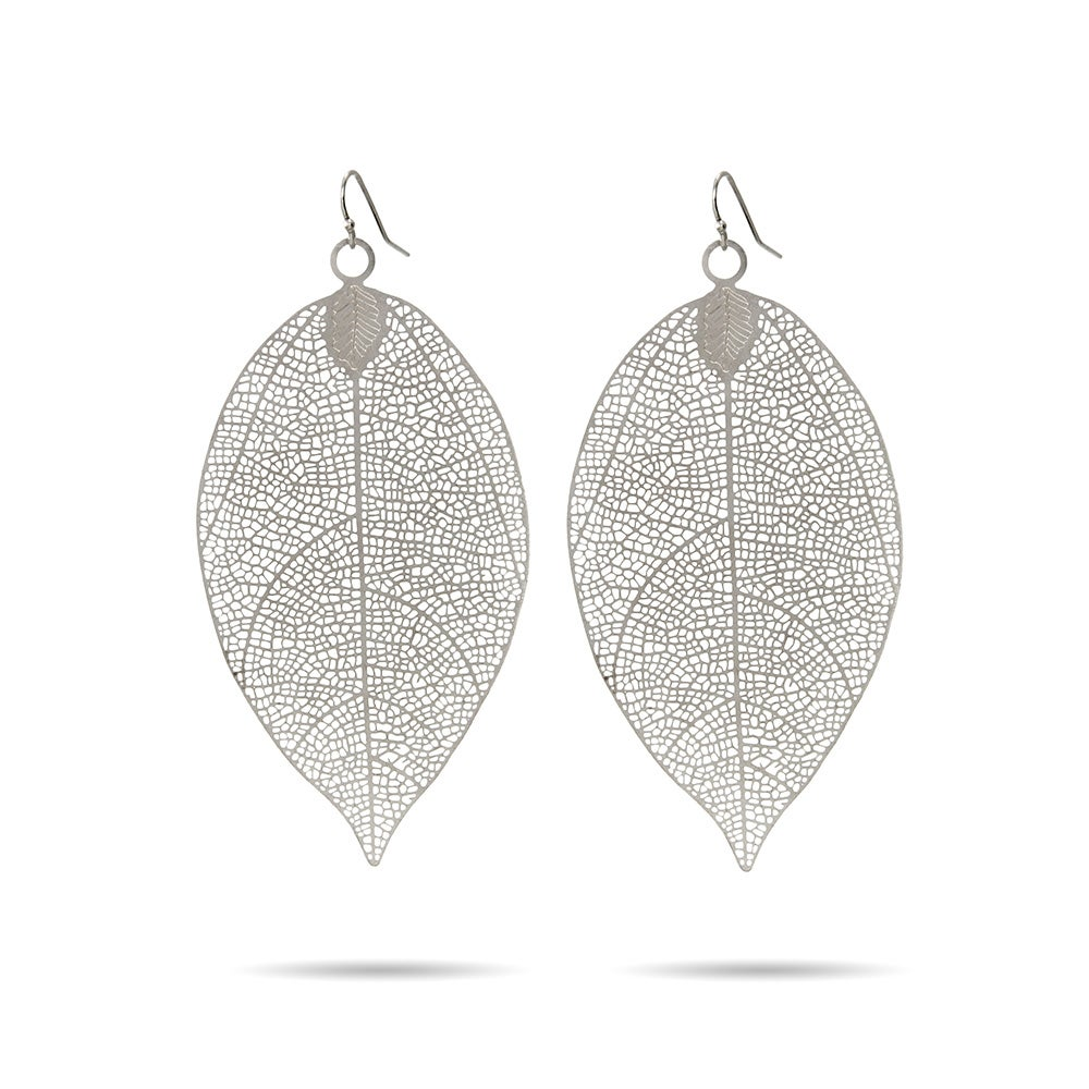 Large Leaf Earrings In Filigree Design