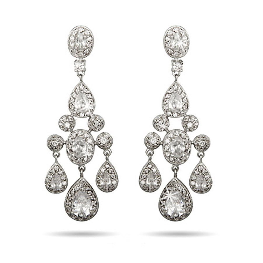 Carpet style teardrop and oval cz chandelier earrings eves teardrop and oval cz chandelier earrings arubaitofo Images