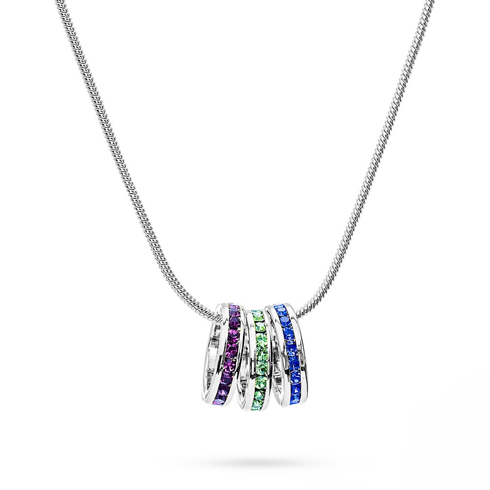 Custom Stackable Birthstone Eternity Charm Necklace