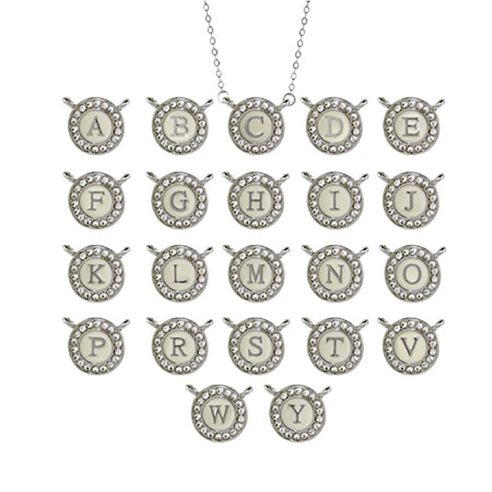 Designer inspired round cz initial pendant designer inspired round cz initial necklace mozeypictures Gallery