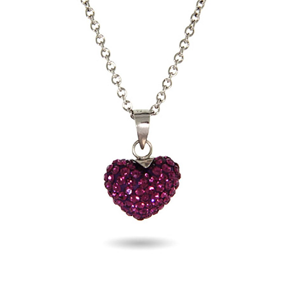 pendant heart amethyst dazzling crystal swarovski necklace purple