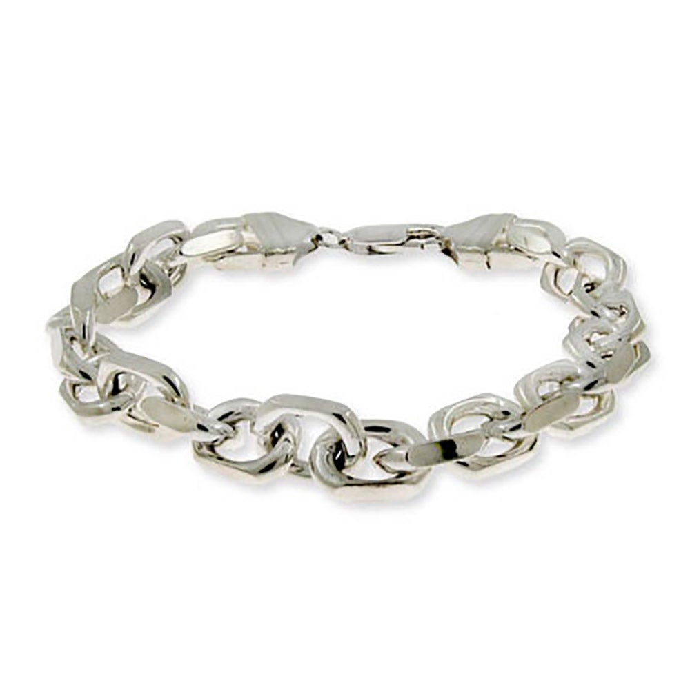 Anchor chain mens silver bracelet linked anchor chain mens sterling silver bracelet mozeypictures Images