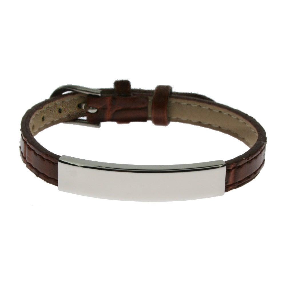 Engravable Brown Leather Id Bracelet