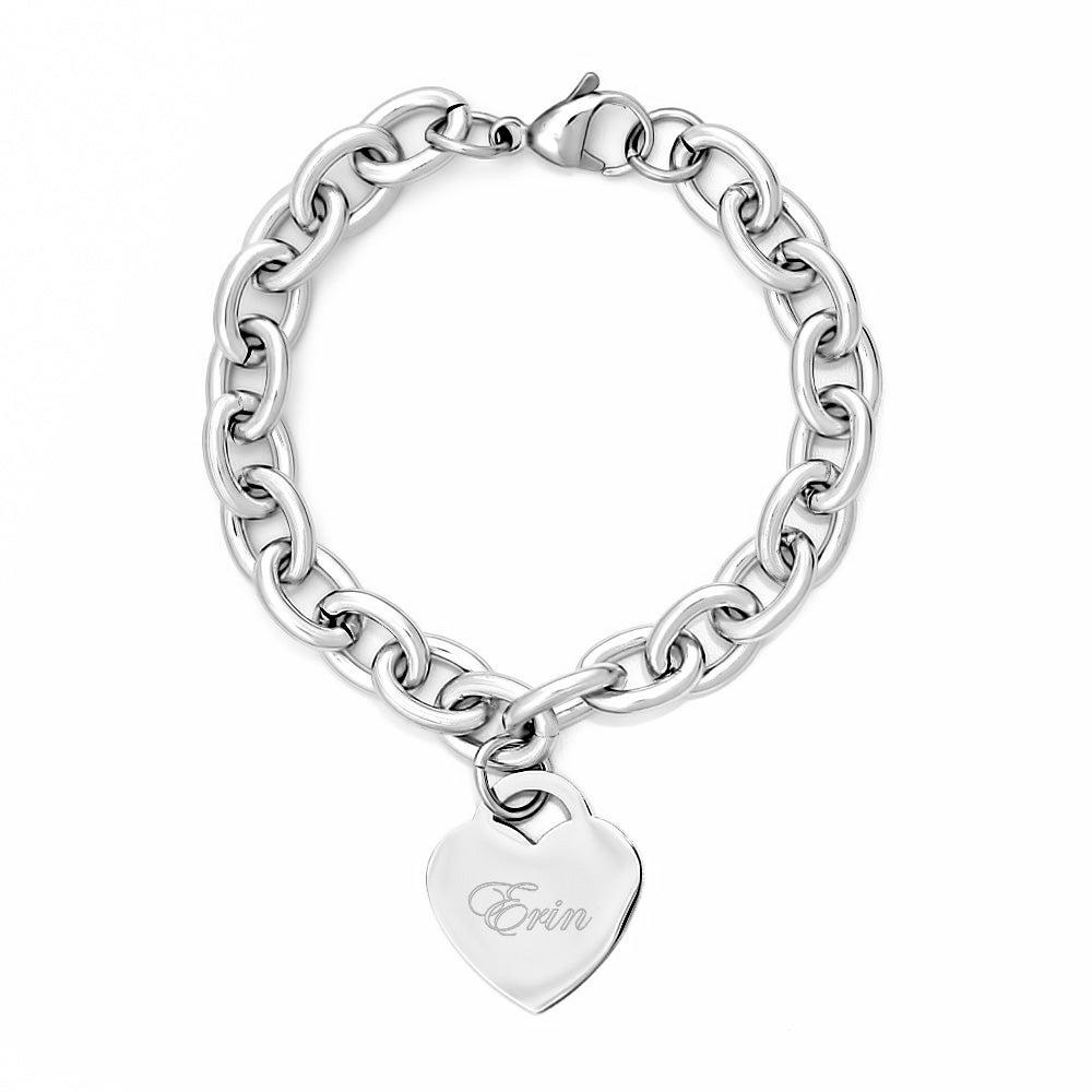 Designer Style Engravable Heart Tag Bracelet