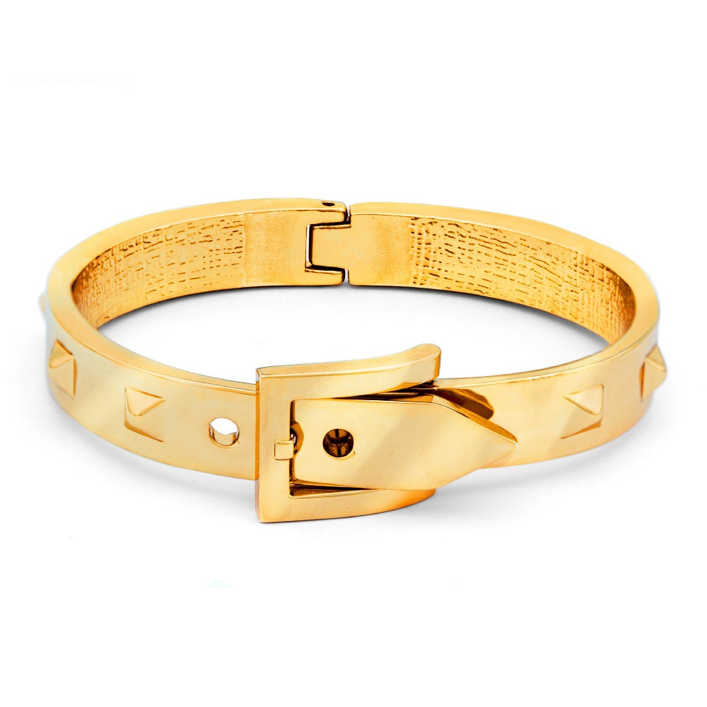 Inspired Gold Studded Belt Buckle Bangle Bracelet | Eve\'s Addiction®
