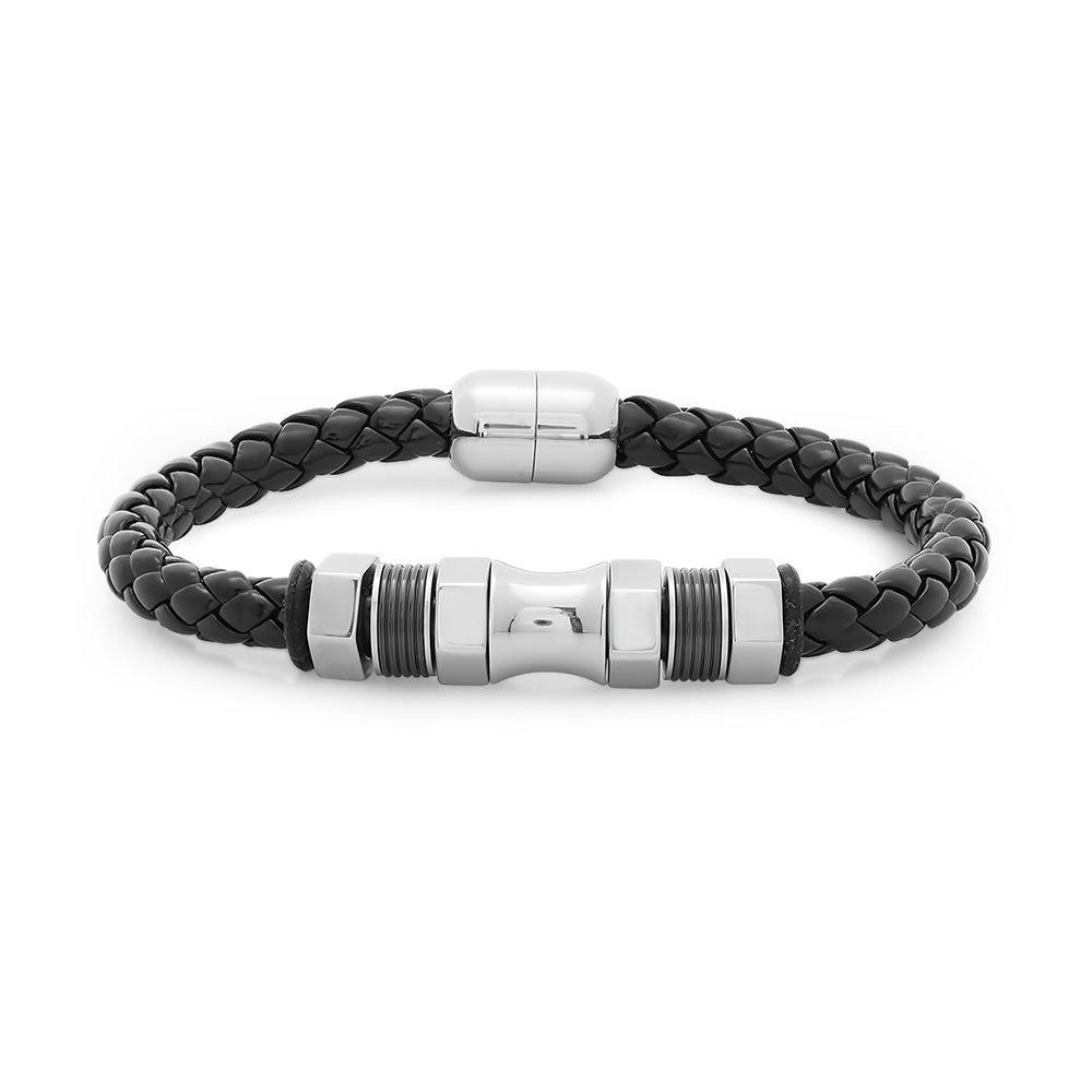 Nitro Stainless Steel Black Braided Leather Men S Bracelet