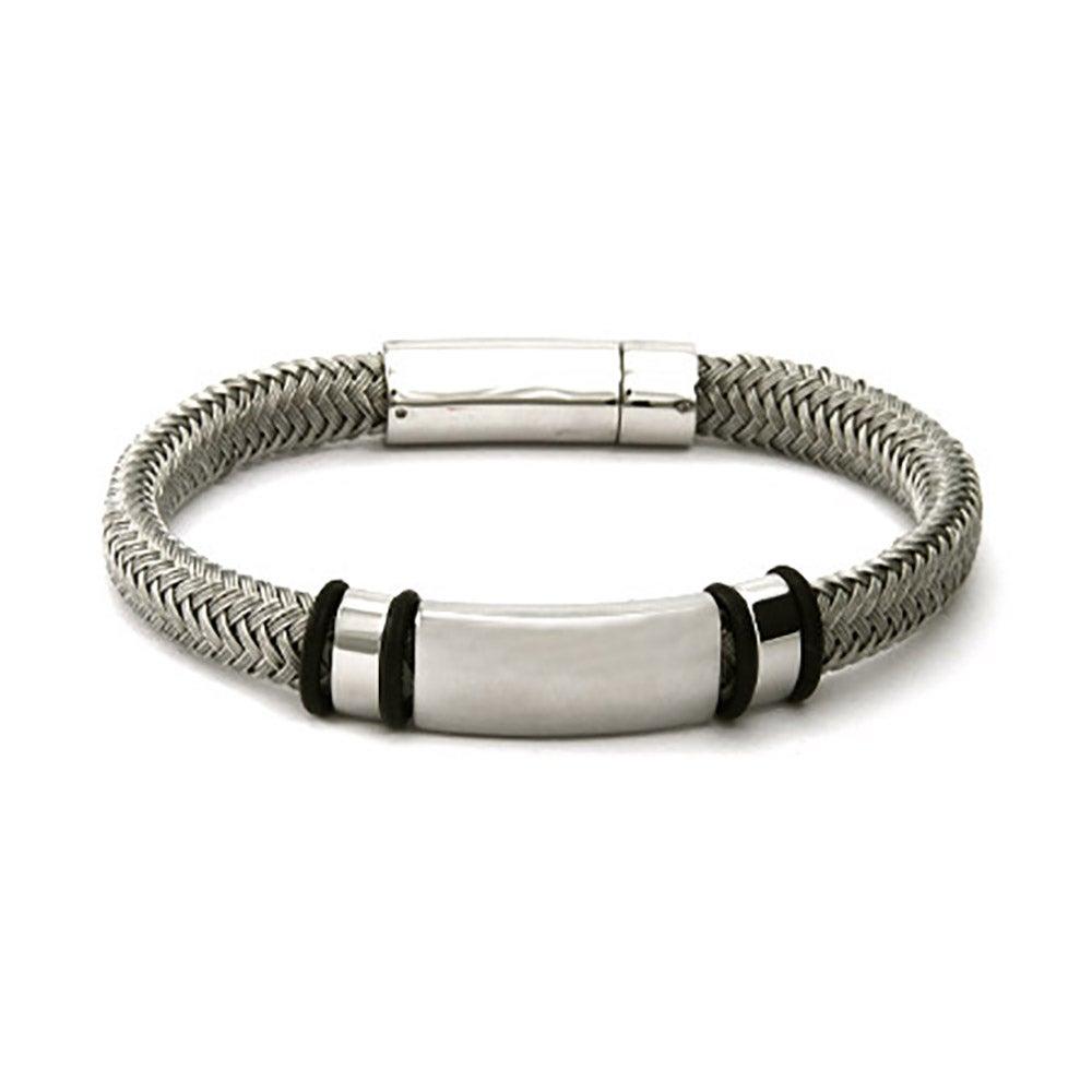 Men S Braided Platinum Gray Cord Engravable Id Bracelet
