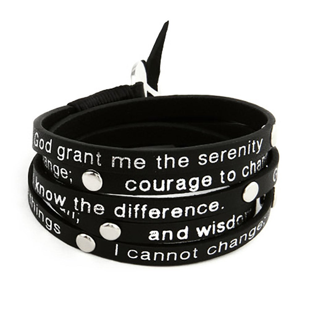 Black Leather Serenity Prayer Wrap Bracelet