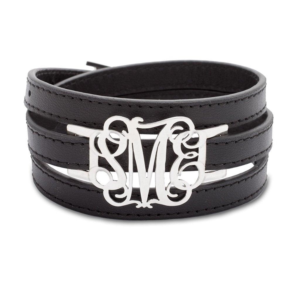 Sterling Silver Custom Fancy Script Monogram Leather Wrap Bracelet
