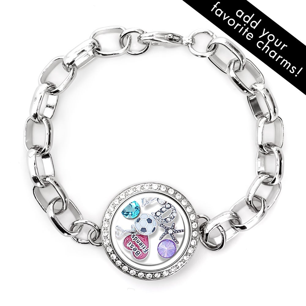 diamond cz round floating charm locket bracelet. Black Bedroom Furniture Sets. Home Design Ideas