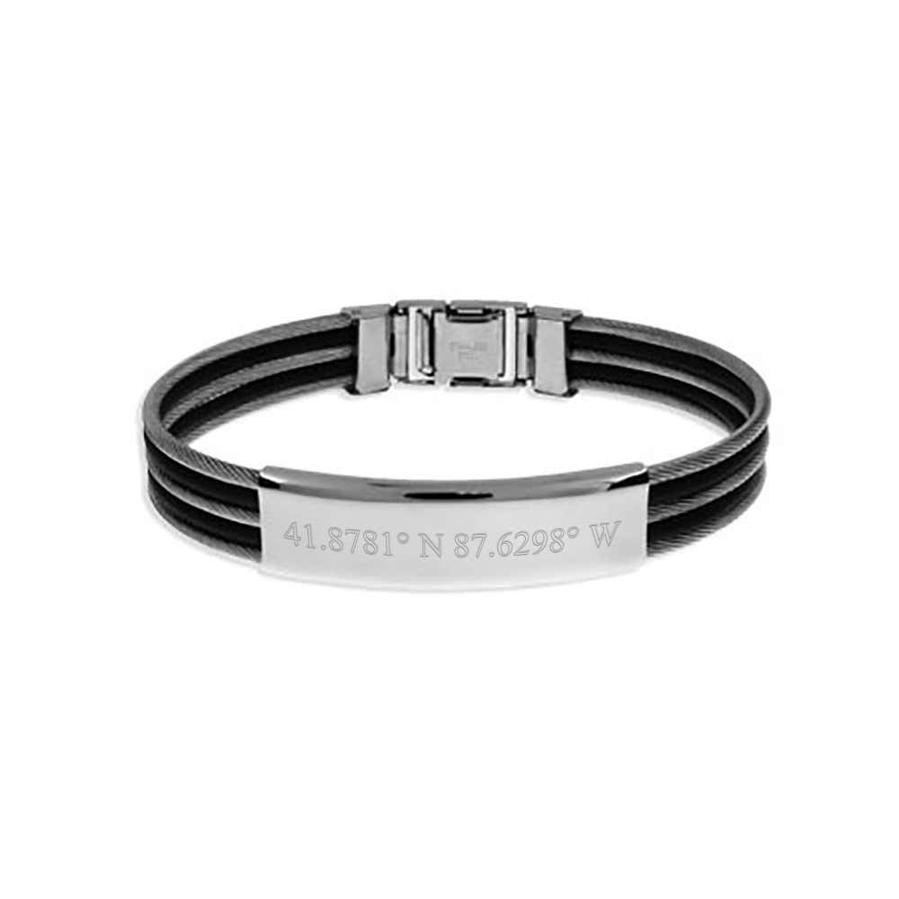 Men S Cable And Rubber Custom Coordinate Bracelet