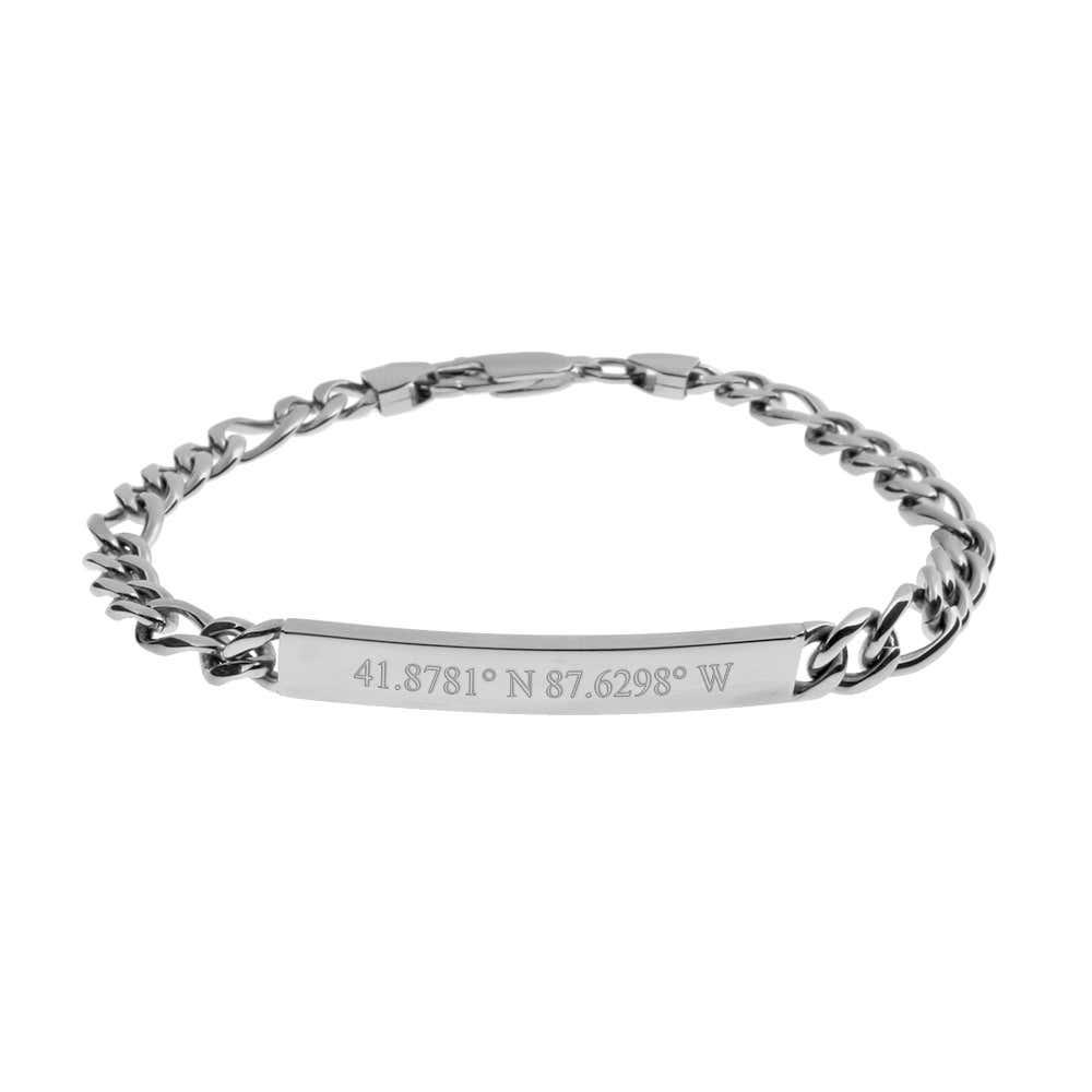 Custom Coordinate Slim Figaro Stainless Steel Bracelet