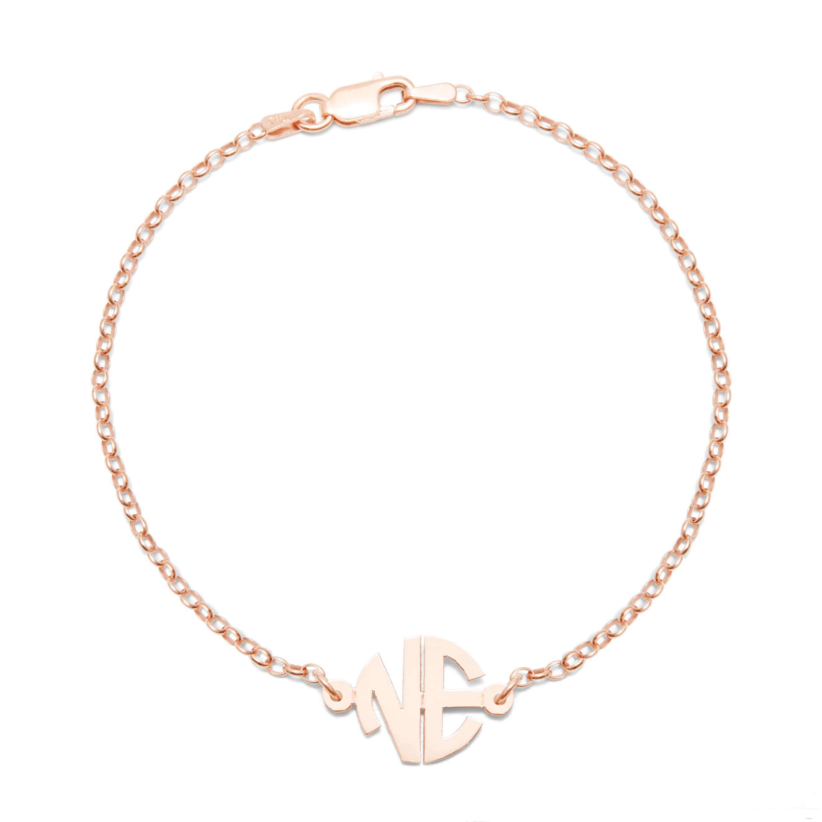 3654af911 2 Initial Custom Round Block Rose Gold Monogram Bracelet