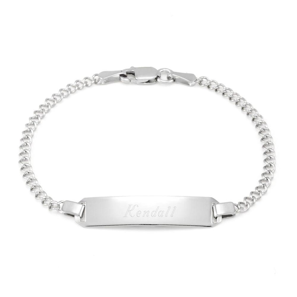 Engravable Baby Id Silver Bracelet