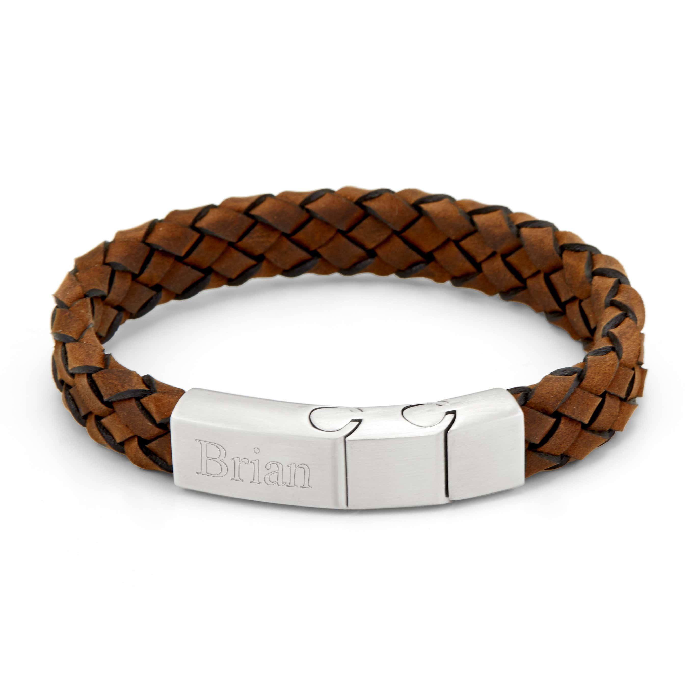 Engravable Men S Brushed Steel Brown Leather Woven Bracelet
