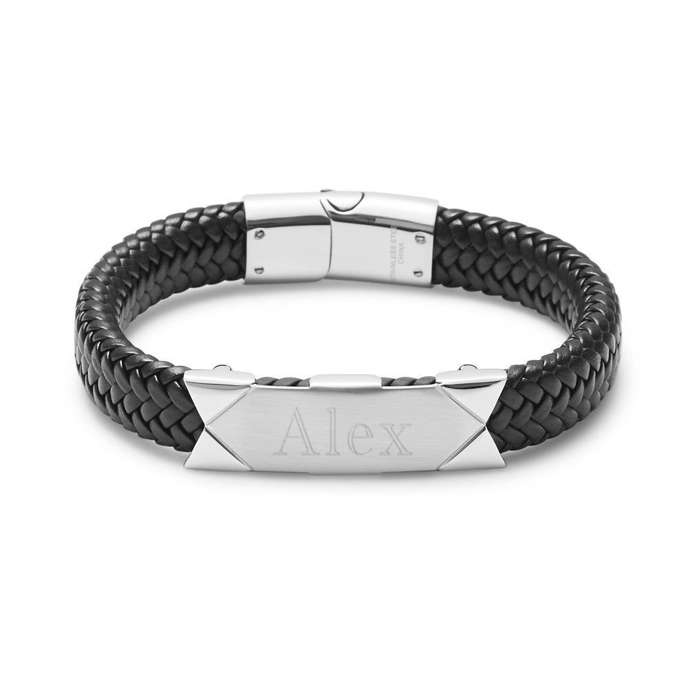 EVES ADDICTION Engravable Mens Brown Woven Leather ID Bracelet