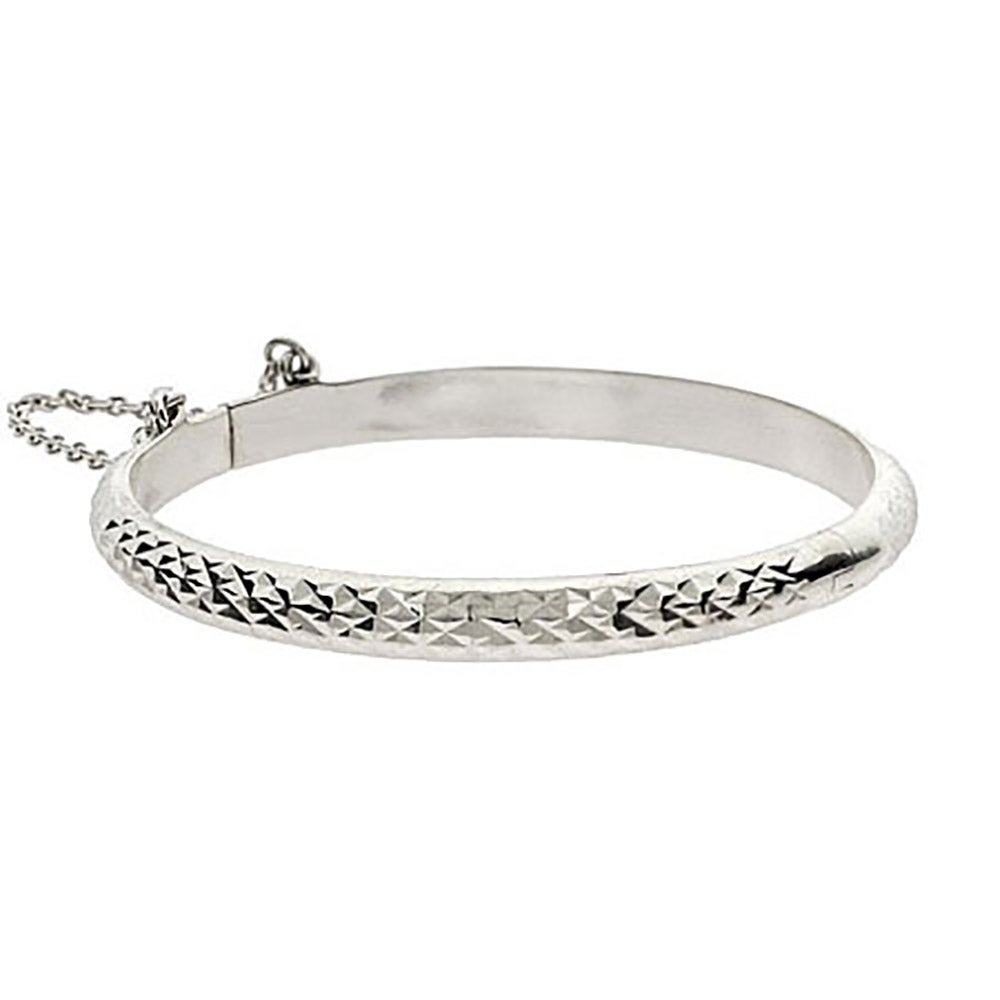 Engravable Diamond Cut Sterling Silver Baby Bangle Eve S