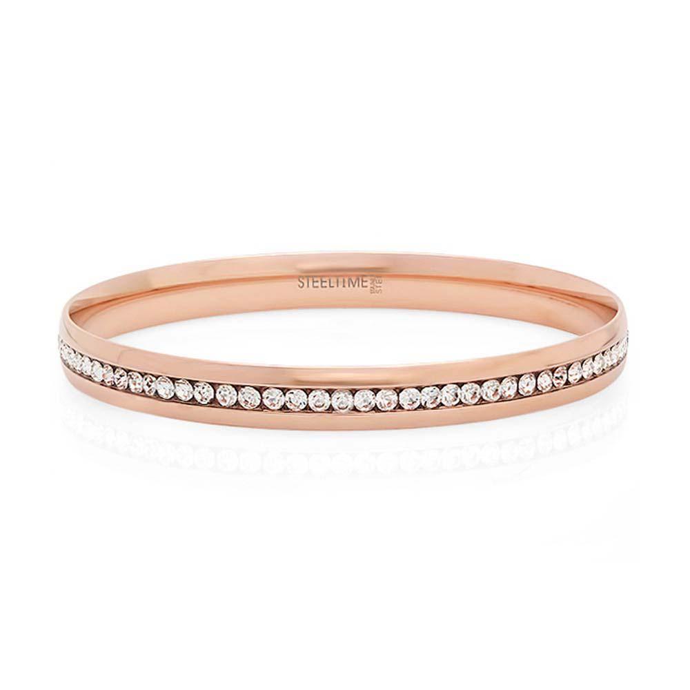 Engravable Rose Gold Plated Channel Set Cz Bangle Bracelet