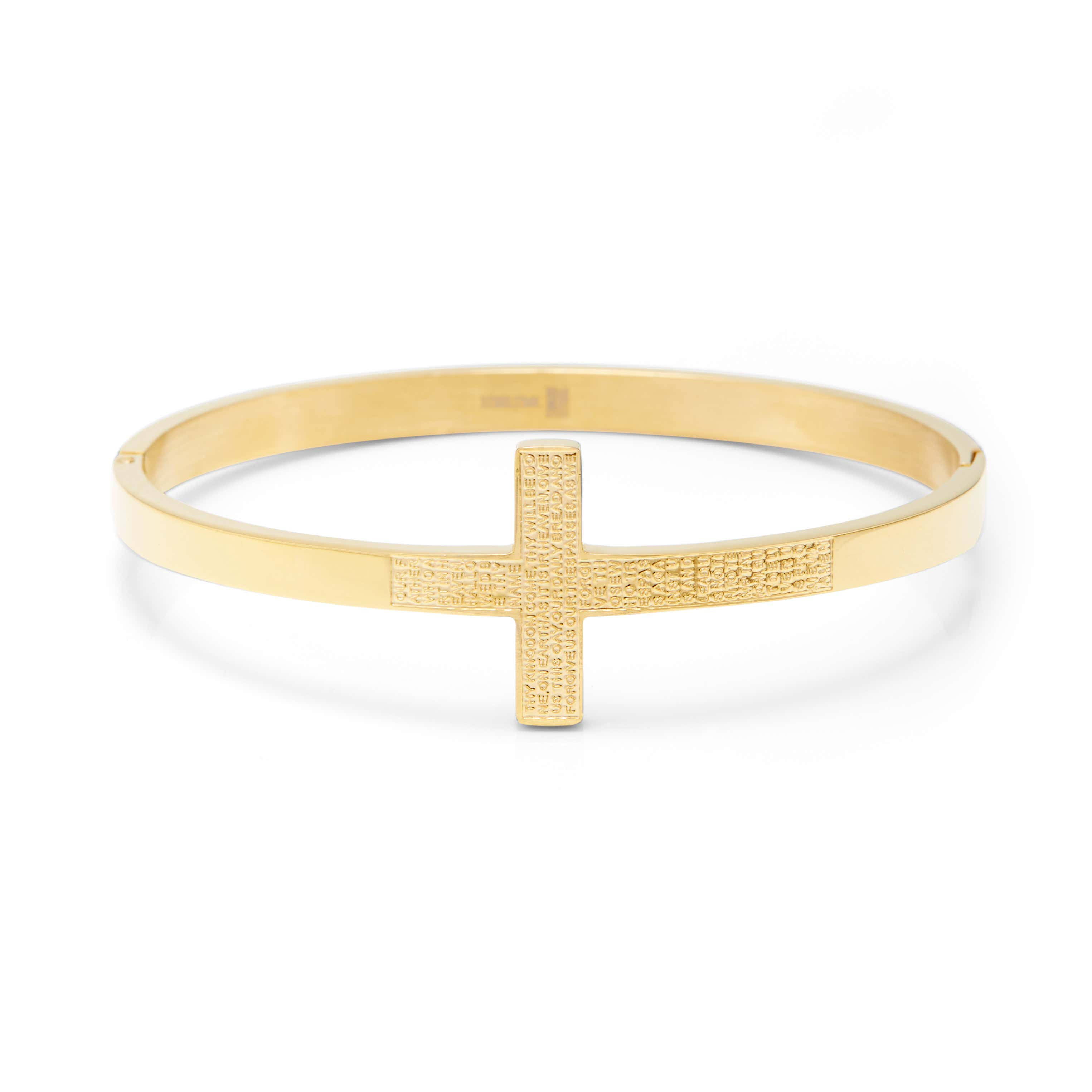 565dab4400e9a Engravable Lord's Prayer Gold Bangle Bracelet