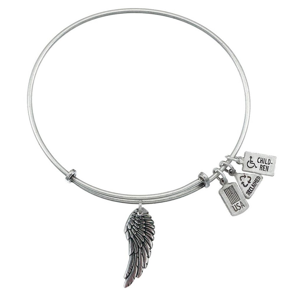 Wind And Fire Angel Wing Charm Bangle Bracelet