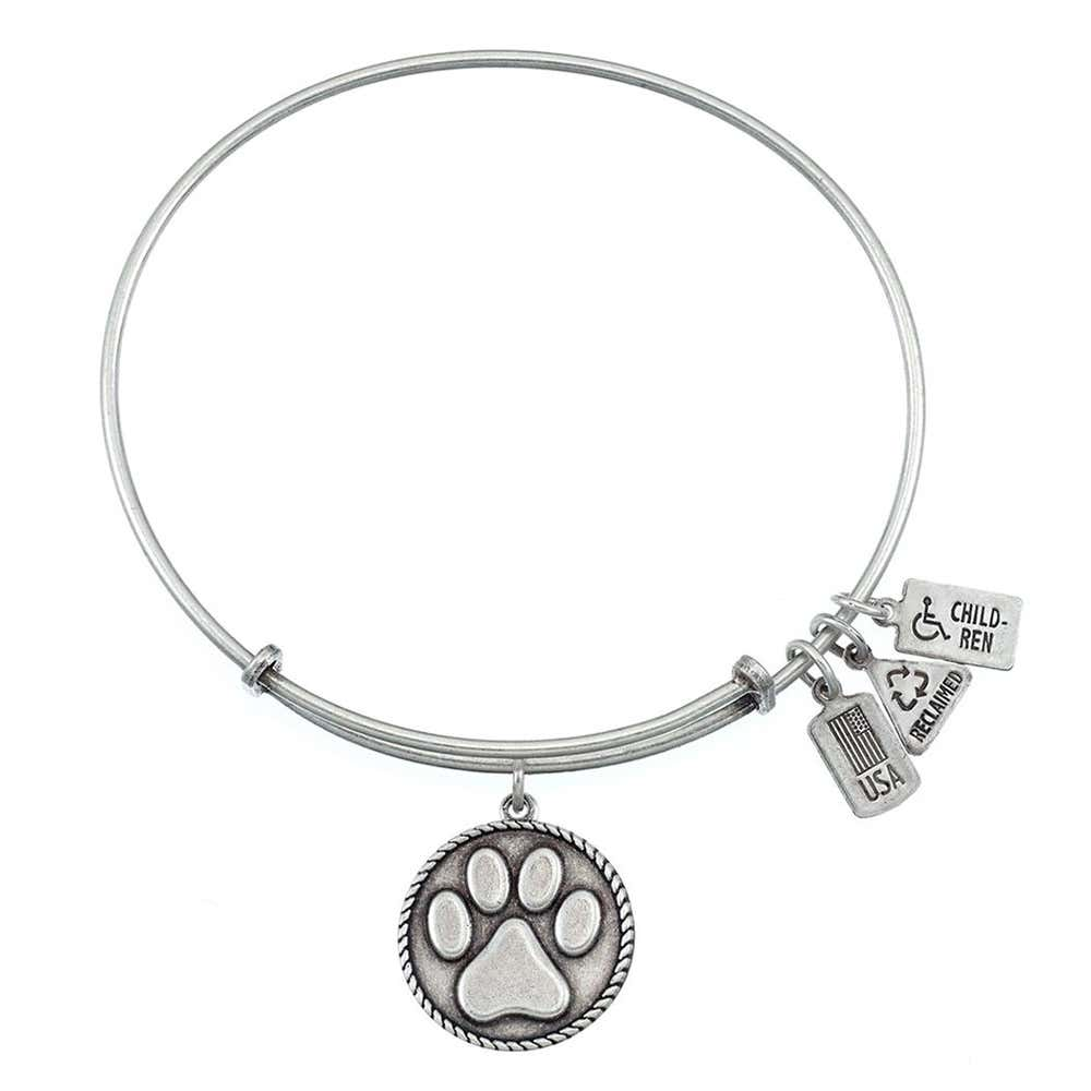 a8d4565bed1c5 Wind and Fire Paw Print Charm Bangle Bracelet