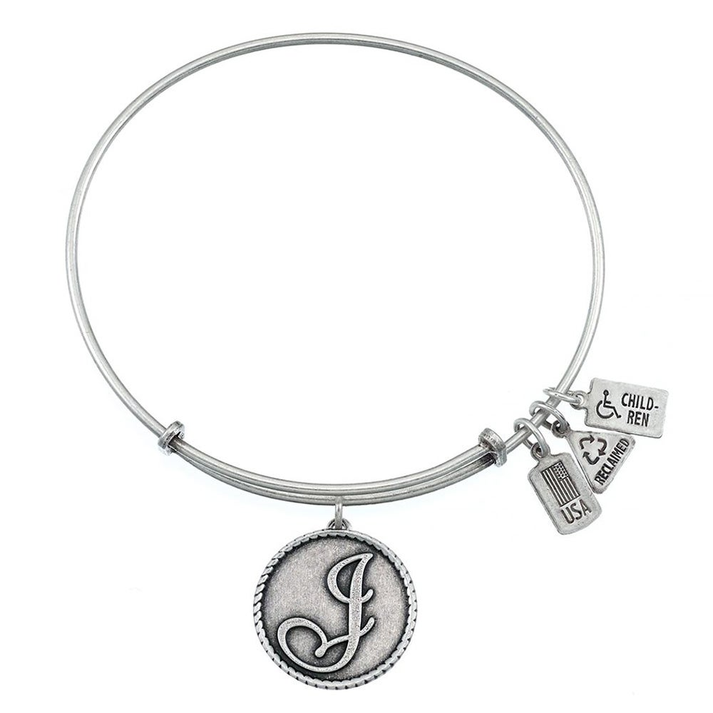 Wind fire letter j initial engravable charm bangle for Letter j bracelet