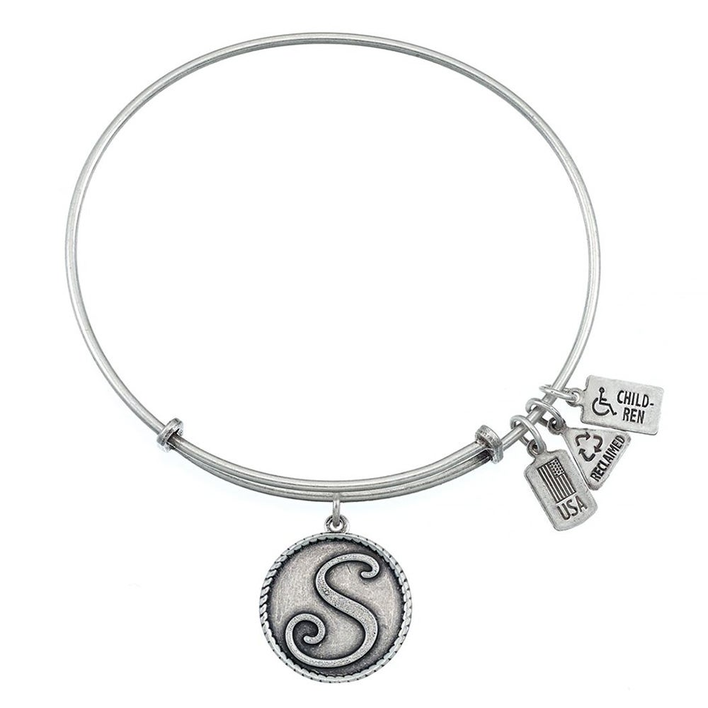 fire s initial design charm bracelet with silver finish eves wind and fire letter s initial charm bangle bracelet mozeypictures Image collections