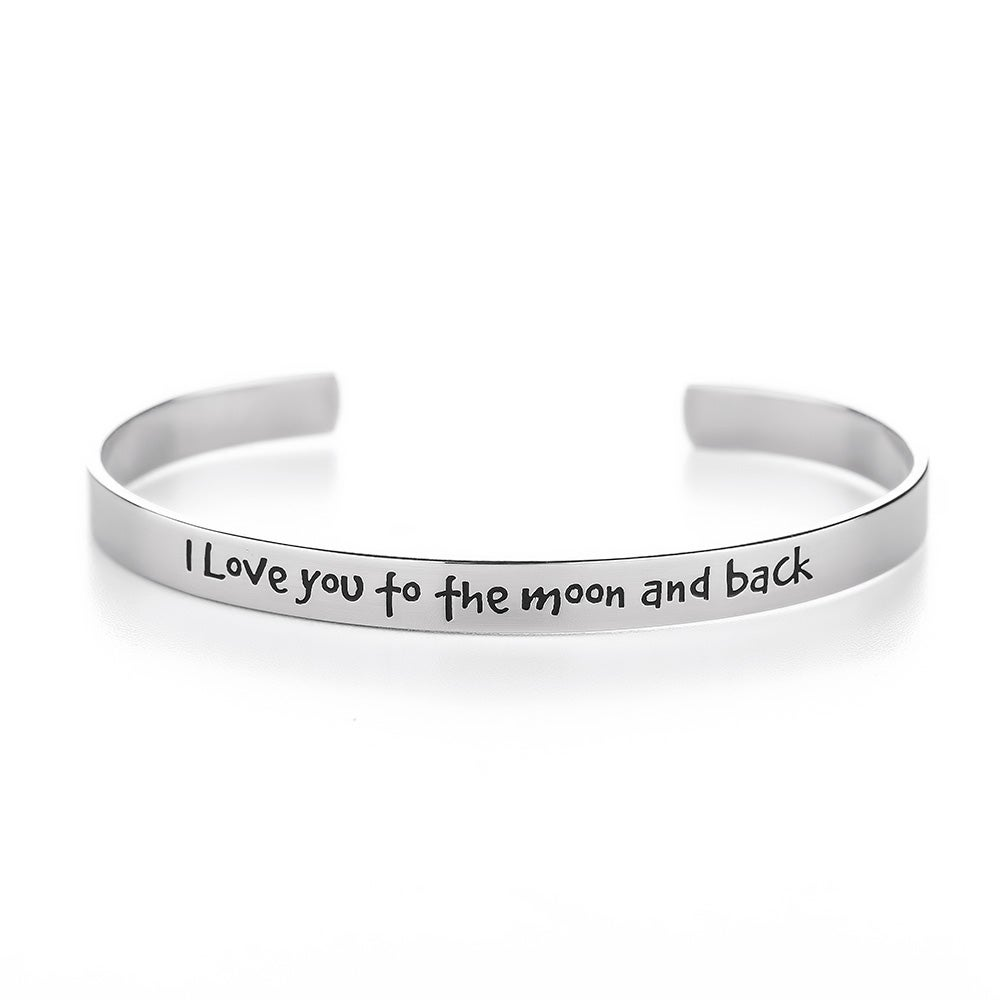 Engravable I Love You To The Moon And Back Cuff Bracelet