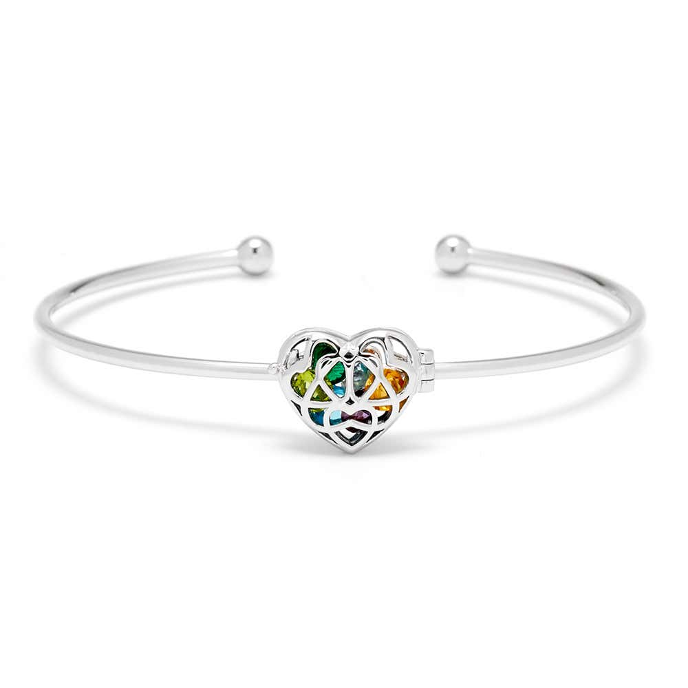 Interlocking Hearts Birthstone Silver Cuff Bracelet