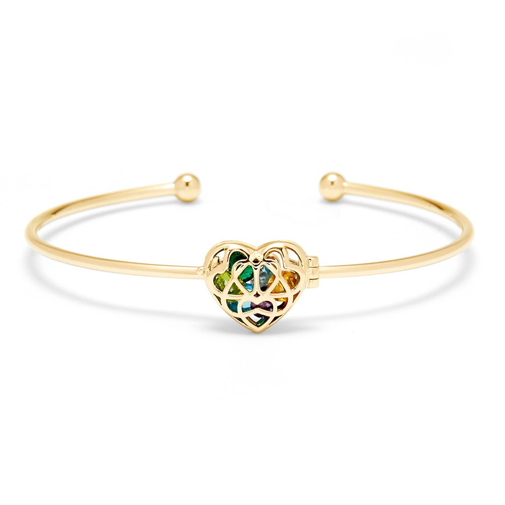 Interlocking Hearts Birthstone Gold Cuff Bracelet
