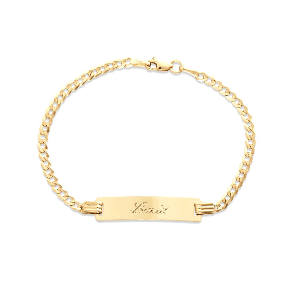 Kids 14k Gold 6 Engravable Cuban Link ID Bracelet Eves Addiction