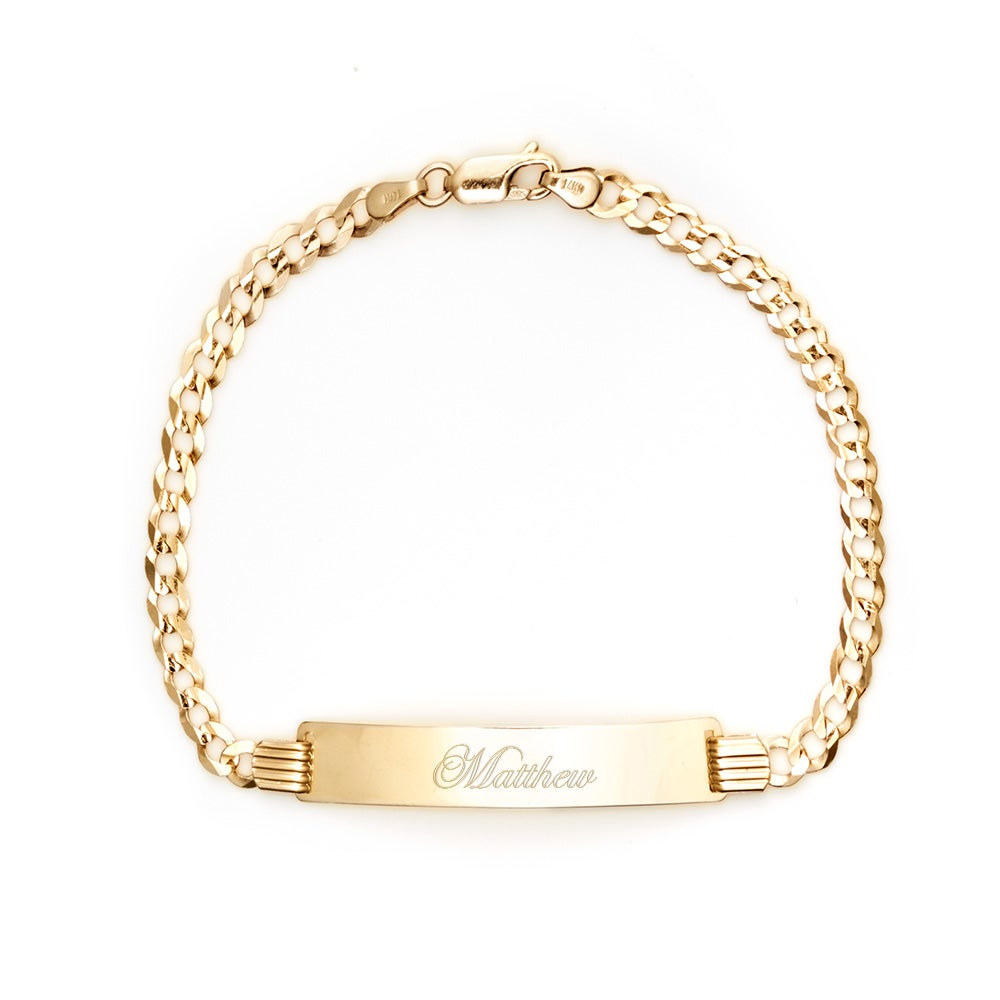 Men S 14k Gold Engravable Cuban Link Id Bracelet
