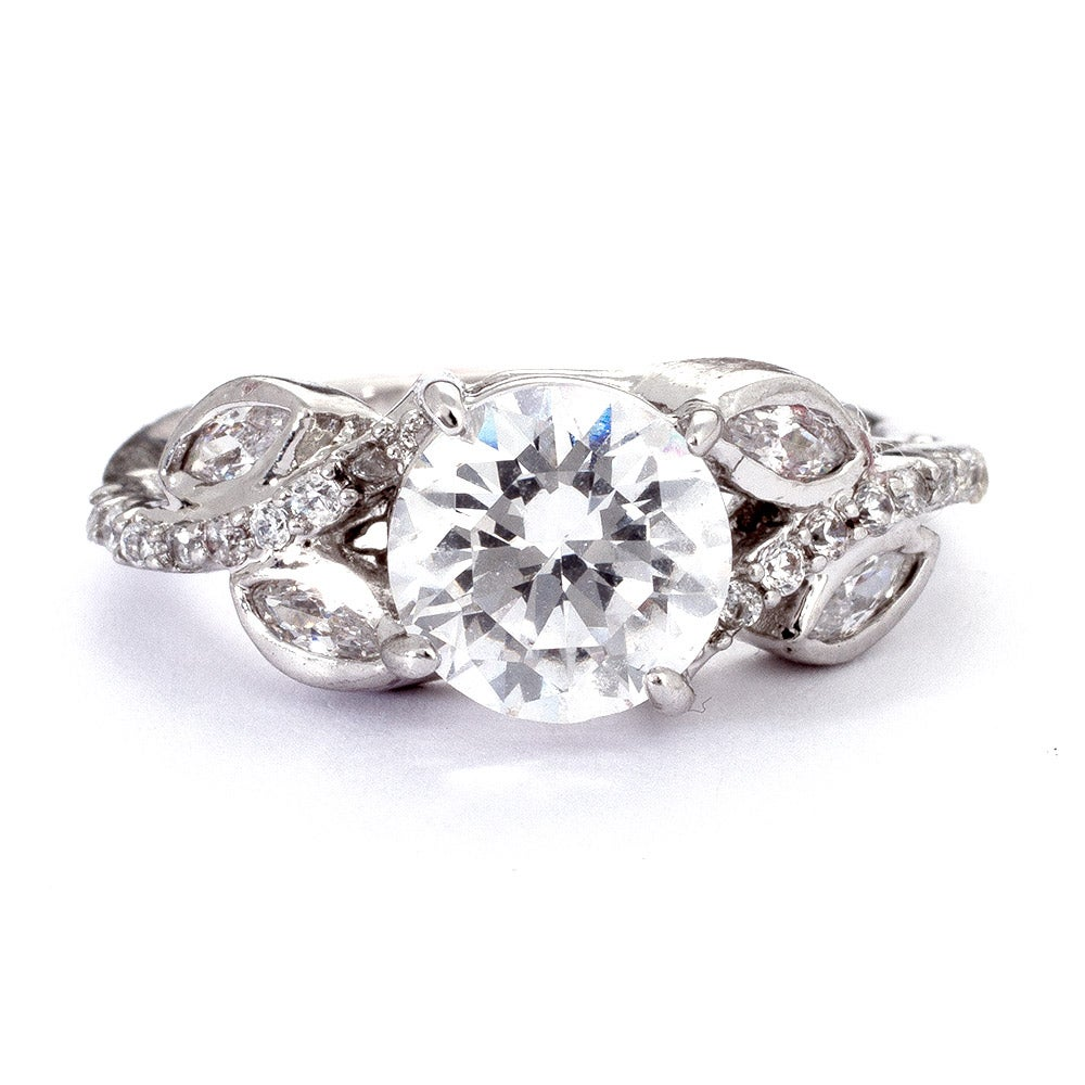 2 carat wedding ring brilliant cut 2 carat cz engagement ring with vine accents 1044