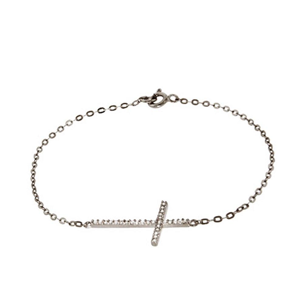 Sterling Silver And Cz Sideways Cross Bracelet