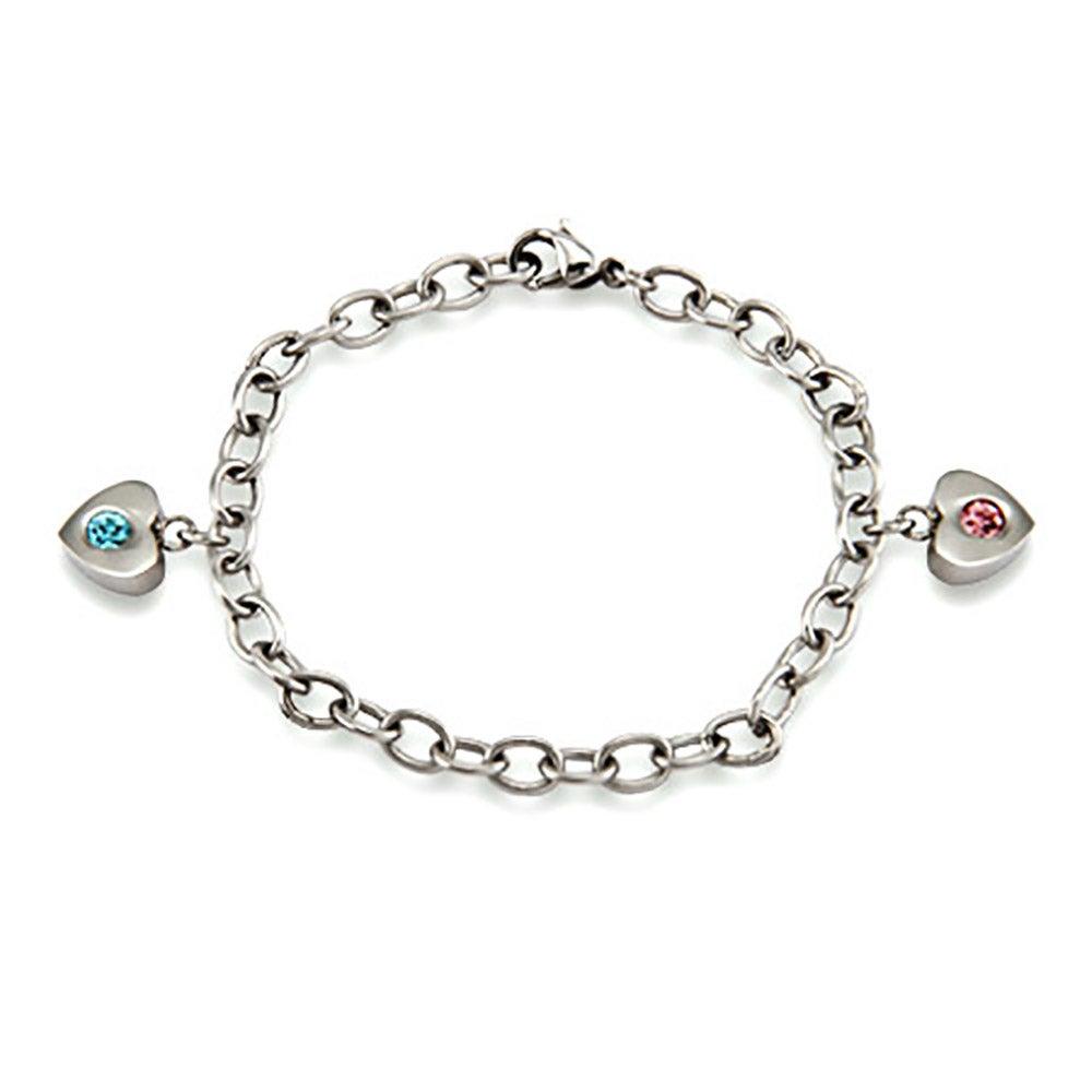2 Stone Family Of Hearts Custom Birthstone Bracelet