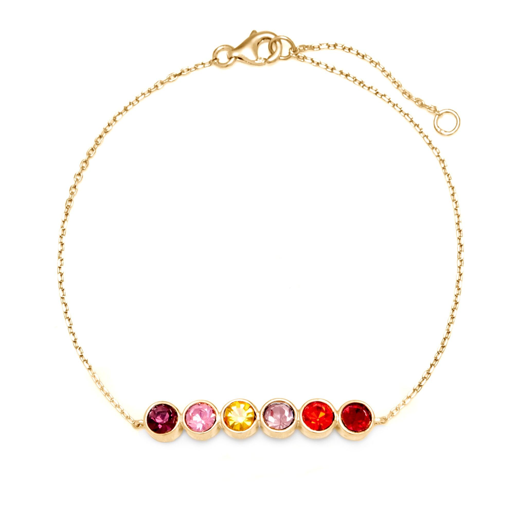 6 Stone Birthstone Bezel Set Gold Bracelet