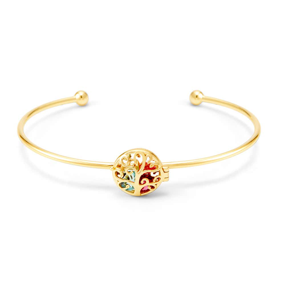 Family Tree Birthstone Gold Cuff Bracelet