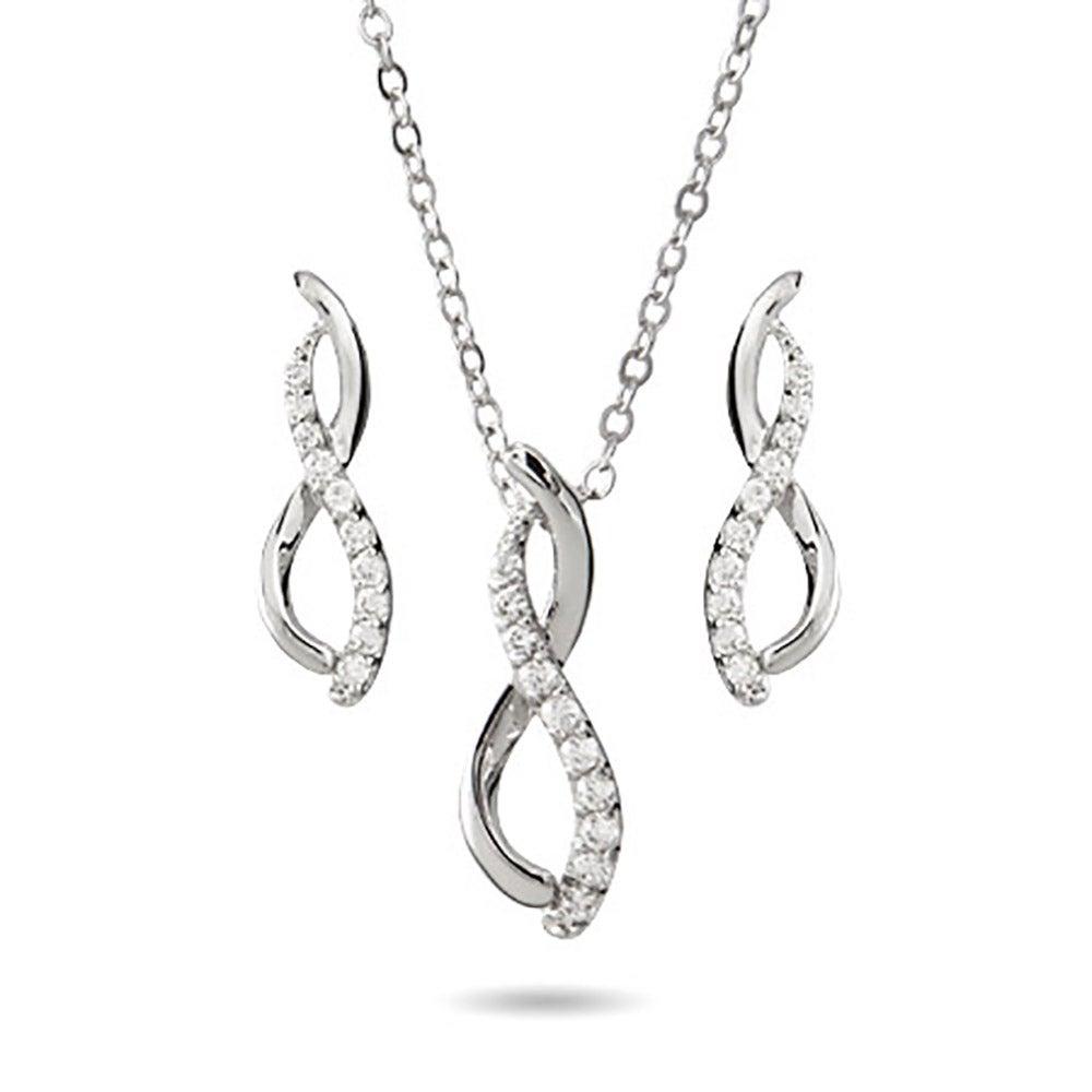 Elegant Cz Infinity Symbol Necklace And Earring Set