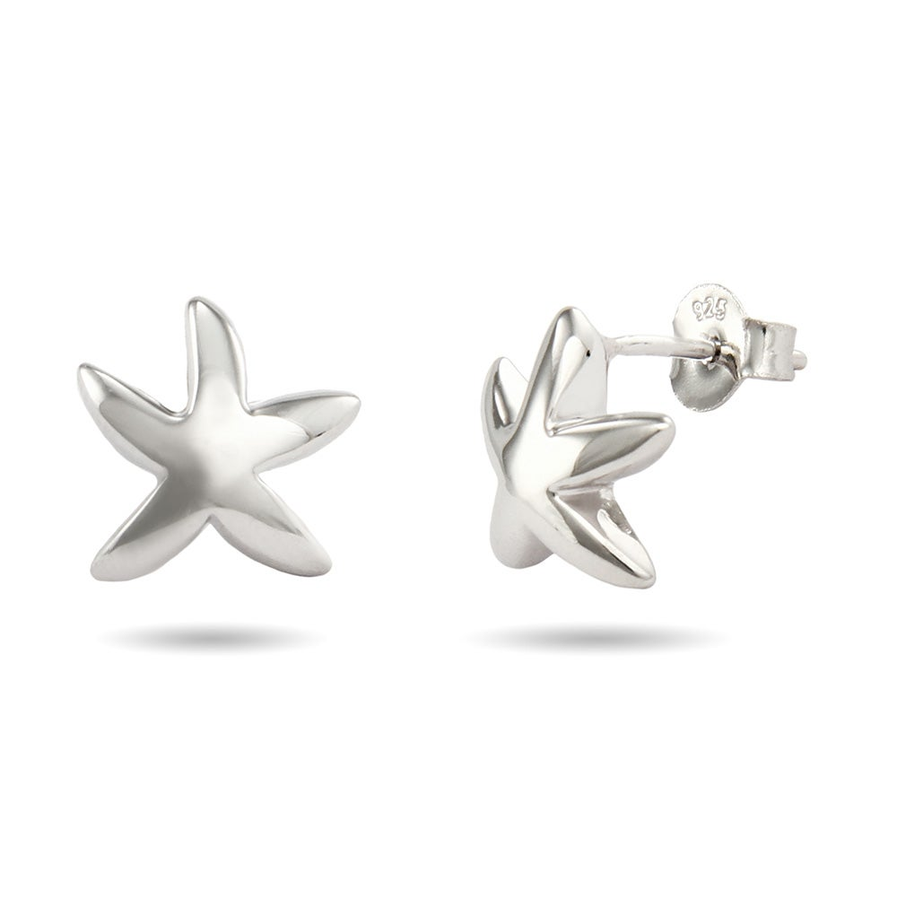 Designer Style Sterling Silver Starfish Earrings