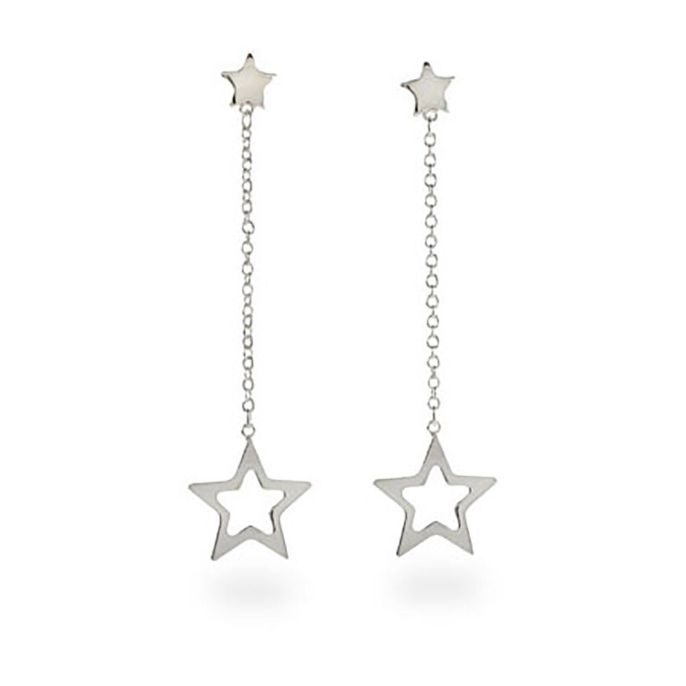 Designer Style Double Star Drop Sterling Silver Earrings